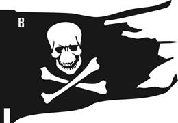 Флюгер средний 490х380 мм. Пиратский флаг