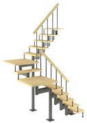 Модульная лестница Комфорт, серия «Классик» (с поворотом на 180 градусов и площадками) высота шага 180 мм