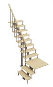 Модульная лестница Статус, серия «Классик» (с поворотом 90 градусов с площадкой) высота 2025-2115 высота шага 225 мм