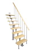 Модульная малогабаритная лестница Компакт, серия «Квадро» (с поворотом 90 градусов квадратный профиль) высота шага 225 мм