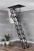 Металлическая раздвижная чердачная лестница OMAN Ножничная Metal Тermo