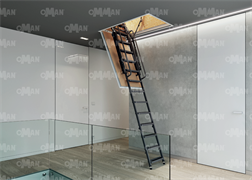 Противопожарная металлическая раздвижная чердачная лестница OMAN ARISTO PP
